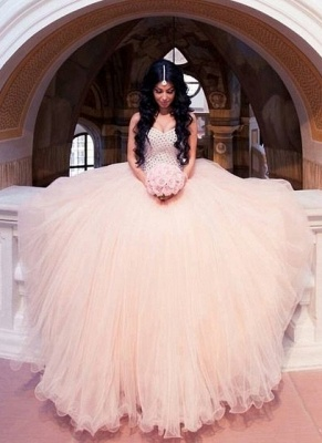 Crystals Wedding Dresses Sweetheart Neck Bohemian Puffy Ball Gown Bridal Gowns_2