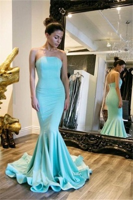 Sexy Simple Strapless Mermaid Prom Dresses Court Train Party Dress_1