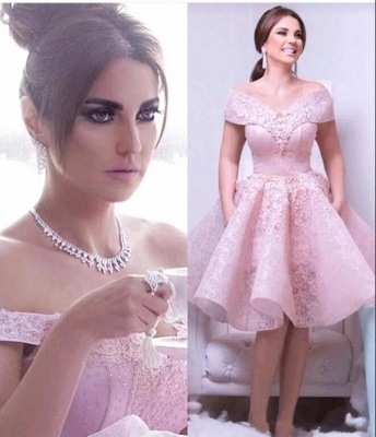 Chic Pink A-Line Homecoming Dresses | Off-The-Shoulder Lace Cocktail Dresses_3