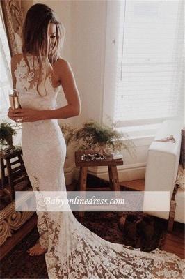 Lace Elegant Mermaid High Neck Long Wedding Dresses_1