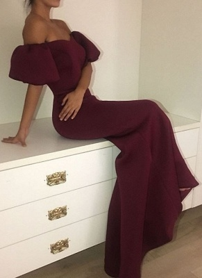 Elegant Maroon Mermaid Prom Dresses | Short Puffy Sleeves Formal Dresses_1
