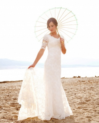 Sweep Train Short-Sleeves Sheath-Column Modern Lace Scoop-Neck Wedding Dresses_2