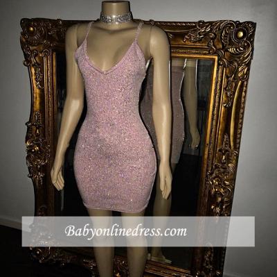 Pretty Spaghetti-Straps Sequins Short Homecoming Dress_1