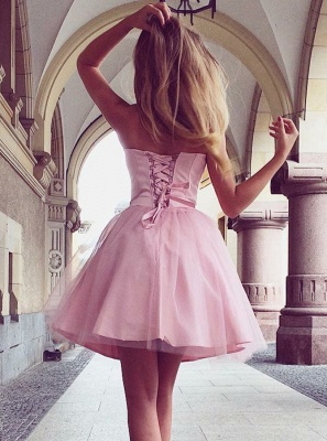 Sexy Pink Tulle A-Line Homecoming Dresses | Sweetheart Tulle Short Cocktail Dresses_3