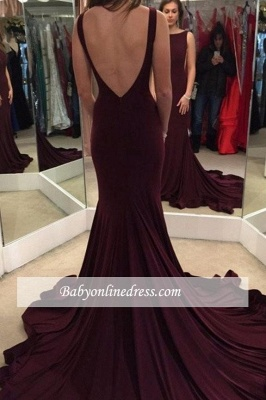 Alluring Chic Backless Mermaid Evening Gowns Court-Train Prom Dress_3