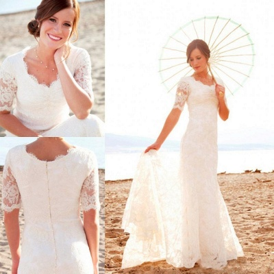 Sweep Train Short-Sleeves Sheath-Column Modern Lace Scoop-Neck Wedding Dresses_3